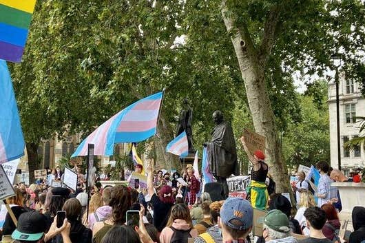 Hundreds of people flocked to Parliament square to protest against controversial changes to the Gender Recognition Act